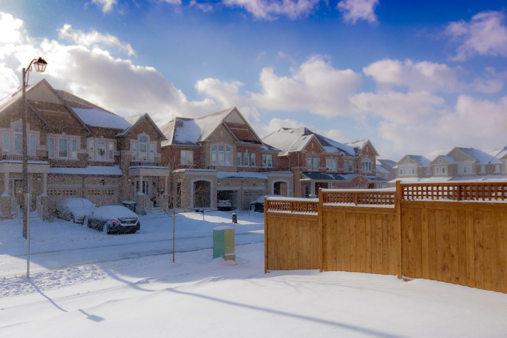 Houses in winter snow