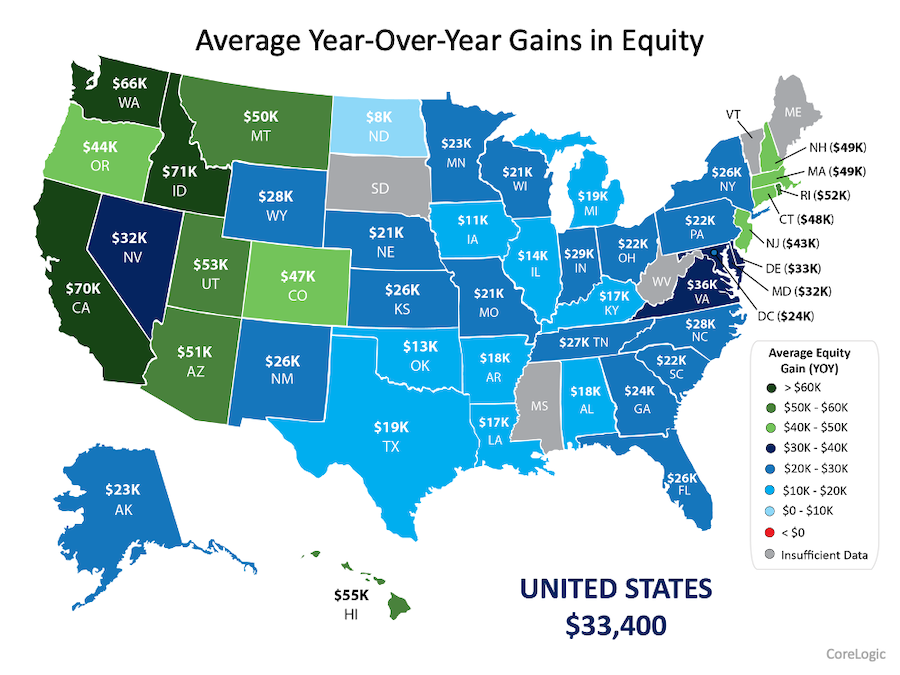 average year-over-year gains in equity by state