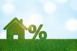 decorative house made of grass with a percent sign against a blue sky